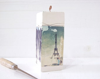 Paris. France. Eiffel Tower, Notre Dame. Five Polaroid Emulsion Transfers Printed on Hand Built Clay Stash Box. La Tour Eiffel.