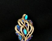 Huge Sale Signed Schiaparelli Brooch Peacock Rhinestones and Gold