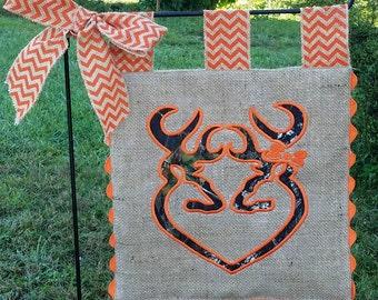 Burlap Garden Flag - Custom Deer Antler Couple - Embroidery Applique