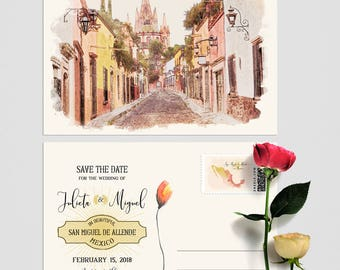 Mexico San Miguel de Allende save the date postcards with illustration of church -  Deposit Payment