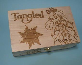 Tangled / Rapunzel  Etched wood Trinket Box