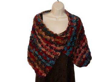 Crochet Shawl, Shoulder Wrap, Romantic Shawl, Womens Stole, Southwest Color Shawl, Womens Shawl, Elegant Shawl, Womens Capelet, Autumn Wrap