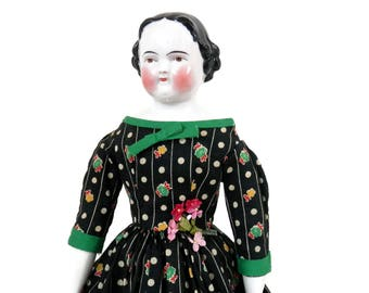 Reproduction China Head Doll and Civil War Era Green and Black Cotton Dress