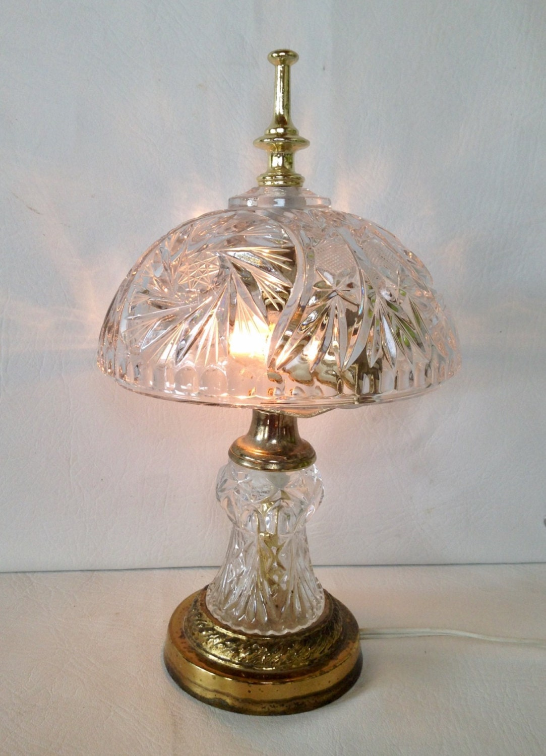 Vintage Crystal Glass Table Lamp Bowl Shaped Lamp Shade Brass