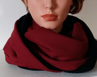 Cowl Infinity Scarf Woman's Cowl Chunky Scarf Men's Cowl - warm and cosy in black and red Houndtooth  fabric scarf sewn
