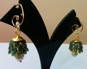 Three- tier Indian pacchi, pachi jhumkas in dark green with golden hook, Indian jewelry, earing