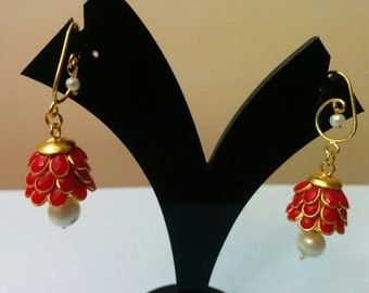 Three- tier Indian pacchi, pachi jhumkas in red with golden hook, Indian jewelry, earing