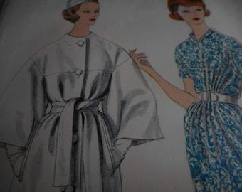 RESERVED SALE Vintage 1960's Vogue 1483 Paris Original Gres Dress and Coat Sewing Pattern, Size 10 Bust 31
