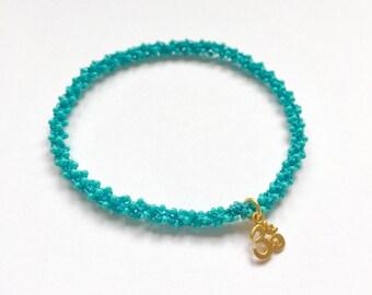 Stackable yoga charm bracelet Vissudha (throat chakra)