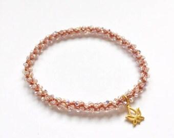 Svadhisthana Sacral Chakra, golden Lotus charm, Swarovski crystal, beaded crochet, stackable yoga bracelet