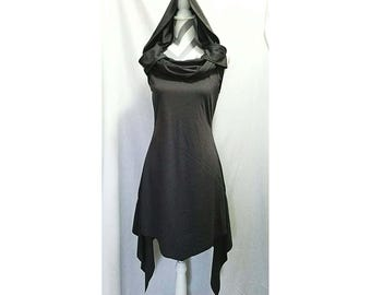 Cyberpunk - Dystopian - Gray Charcoal - Cowl Neck - Hood - Punk - Symmetric Dress
