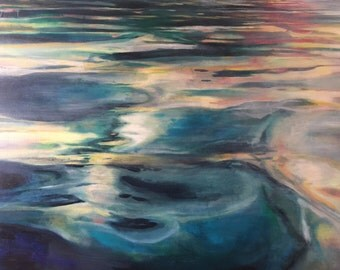 Light and Waves Coastal Abstract Painting of landscape