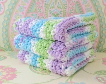 Crochet Green, Purple, Blue and White Wash Cloths/Face Cloths/Bath Cloths/Kitchen Cloths/Dish Cloths, Set of 3 - 100% Cotton - Ready to Ship