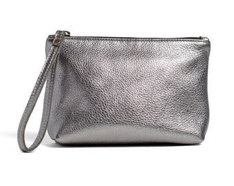 Antique Silver leather pouch, small leather clutch, leather cosmetic bag