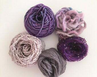 Art Yarn, Craft Yarn, mini balls in various colours of Purple luxurious fibers of silk, merino wool, beads and hand spun yarn