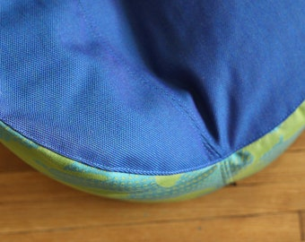 modern kids bean bag chair cover - blue and green botanicals