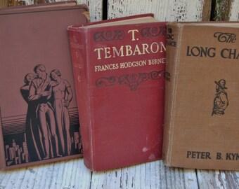 Shabby brown tone books. Vintage library decor. Vintage reading. Vintage hard back books