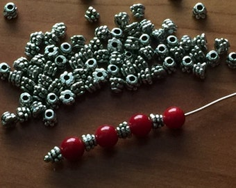 30pcs-5mm silver plated small bead caps, earrings, necklace, connectors, spacers