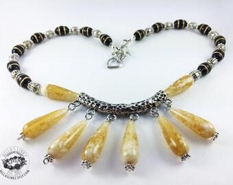 Butterscotch Yellow Fan Necklace
