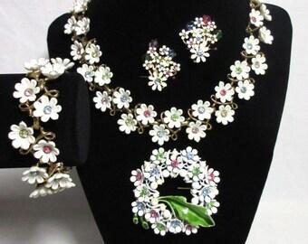 Vintage Pastel Rhinestone Lucite Plastic Floral Necklace Bracelet Parure Set