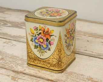 Floral Tin Hinged Lid