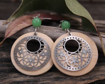 Filigree Stainless Steel Green Stone Wooden Earrings with Surgical Steel Ear Hooks