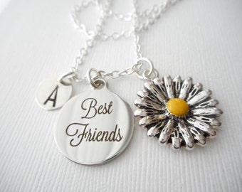 Sunflower, Best Friends -Initial Necklace/ girlfriend necklace, Girlfriend Gift, daughter necklace, little sister, sister