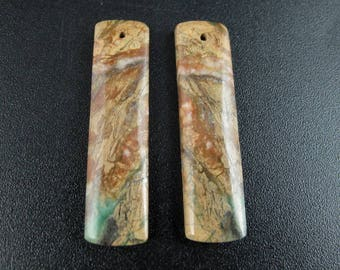 Pair of Unique African  jasper, Earrings supplies  B6773