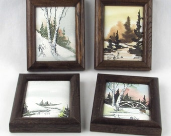 Natural Scene - Signed Original Miniature Paintings - Rustic Nature - Trees - Rivers -  Rural Shabby Chic Framed Art Decor