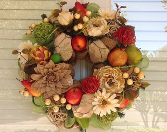 Fruits, Vegetables and Flowers Wreath