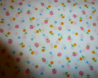 One Yard of Vintage Cotton Fabric Semi Sheer with Little Hearts and Flowers
