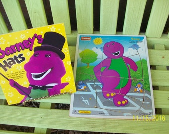 "Barney Puzzle ""Playing Hopscotch"" and Barney book  ""Barney's Hats  1993 and 1994"