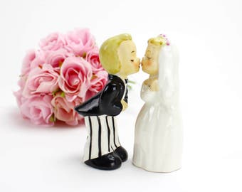 Vintage Wedding Cake Topper, Napco Bride and Groom Figurines, Unique, Wedding Cake, Bride Groom Salt and Pepper Shakers, Epsteam-1