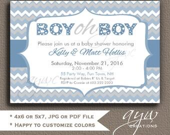 chevron baby shower invitation boy chevron boy oh boy baby shower invite printable invitation baby shower