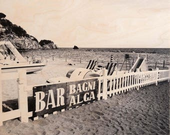 Italian Holiday, 'Bagni Alga' Limited Edition, Image Transfer on Wood Panel by Patrick Lajoie, photo art block, italy photography, beach,b&w