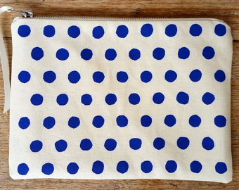 Rough Spot pouch - cobalt blue on off white flat zip pouch - screen printed and handmade