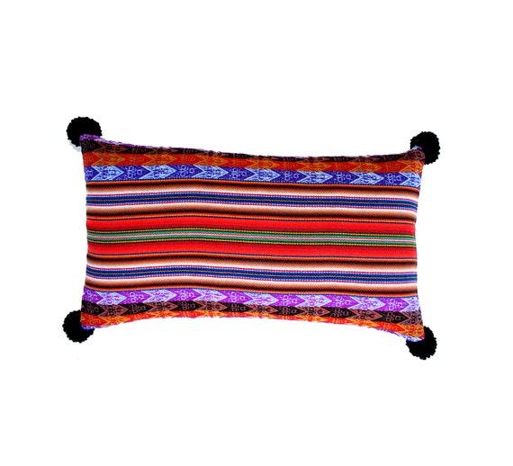 Pillow COVER,  Peruvian textile, multi-striped, purple, black, rectangular, pom poms