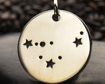 Sterling Silver ~ Capricorn - Zodiac Constellation Disc