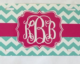 Personalized License Plate Aqua & Hot Pink Chevron Monogrammed License Plate