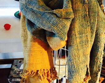 Natural dyed handwoven organic cotton shawl/scarf : Cumin yellow and Indigo blue