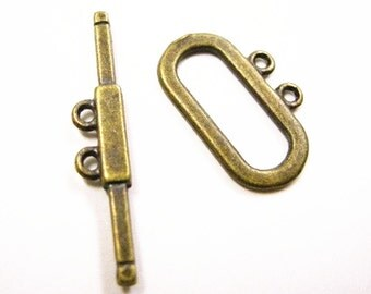 6 sets antique bronze finish metal toggle clasp-3627