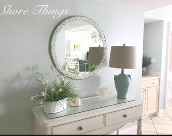 Large Round Sea Glass Mirror Isle Of Wight Beach Home Decor Natural Nautical Wall Hanging Beautiful