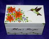 Hand Painted Recipe Card Box Personalized Wood Recipe Box Hummingbird Butterfly Custom 4x6 Recipe Holder Floral Orange Purple Wedding Gift