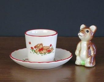 Mason's Teddy Bears Egg Cup and Plate - Vintage Ironstone Egg Stand and Saucer - Teddy Bear Children's Dishes - Teddy Bear Baby Gift