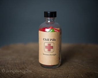 Chill Pills VARIOUS themes 4oz Jar Funny Gag Gift with Skittles and Gift Wrap
