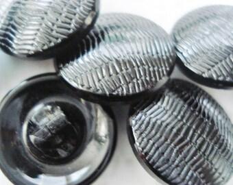 Black Czech Buttons - Vintage Czech Glass Buttons - Fancy Glossy Black Glass Buttons - 6 Vintage Shiny Black Glass Button -