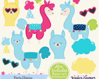 INSTANT DOWNLOAD - Llama Clipart and Vectors for personal and commercial use