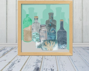 Deconstructed Beach - Bottled Ocean - Multiple Sizes Available - frame not included