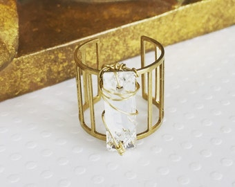 Handmade jewelry. Swarovski crystal ring. Swarovski crystal brass cage ring. Wire wrapped ring. Chic. Sugarplum Gallery.