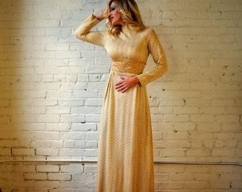 Gold Formal Gown 1960s Vintage Evening Dress Metallic Wavy Stripe SMALL Long Sleeve Beaded Sparkling Silk Lurex Glitter Long Party Dress